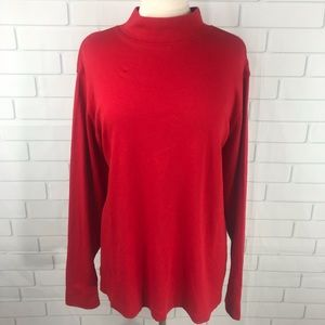 Lands' End Telaxed Mock Turtle Neck Shirt 3X Red